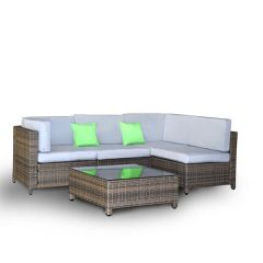 Brand New Milano Outdoor 5 PC Rattan Sofa Set Colour Oatmeal Seat & Black Coating