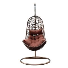 Brand New Arcadia Hanging Outdoor Egg Chair Premium Curved Style - Brown and Coffee