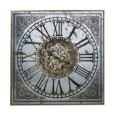 Brand New Riccione Lux Large Square Mirror Wall Clock w/Moving 3D Mechanism