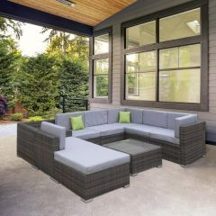 Brand New Milano Outdoor 9pce Oatmeal Rattan Sofa Set - Oatmeal & Grey