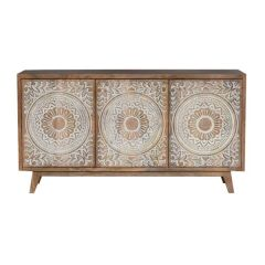 Brand New Riccione Lux Carved Hand-Crafted Hardwood Floral Sideboard