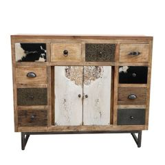 Brand New Riccione Lux Cowhide Patchwork Chest of Drawers