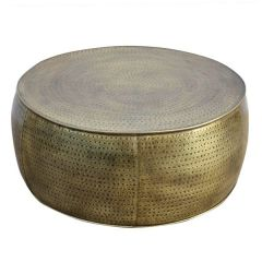 Brand New Riccione Lux Brass Look Hammered Coffee Table